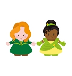 Two princesses cartoon style vector
