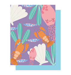 Under sea lobster jellyfishes shell fishes vector