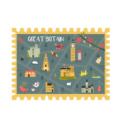 united kingdom postal card with landmarks symbols vector image