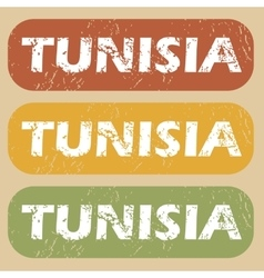 Vintage tunisia stamp set vector