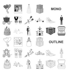 wedding and attributes monochrom icons in set vector image
