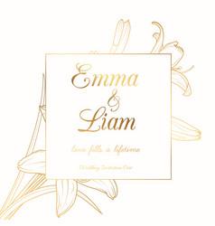 wedding invitation lily lilium flower frame golden vector image