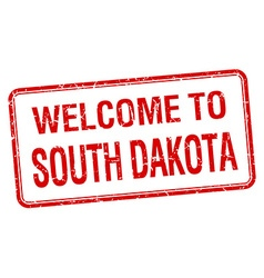welcome to South Dakota red grunge square stamp vector image