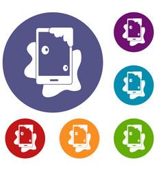 Wet phone icons set vector