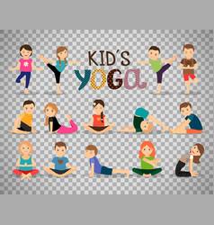 Yoga kids set on transparent background vector