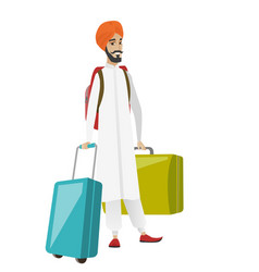 Young hindu man traveler with many suitcases vector