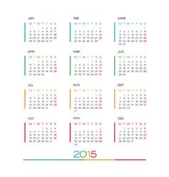 2015 Full Calendar template vector image vector image