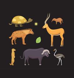 african animals cartoon set safari vector image vector image
