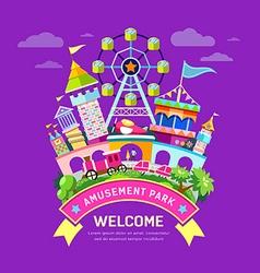 Amusement park flat concept design vector image vector image