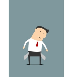 Cartoon sad businessman with empty pockets vector image