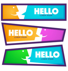 collection of hello communication horizontal web vector image vector image