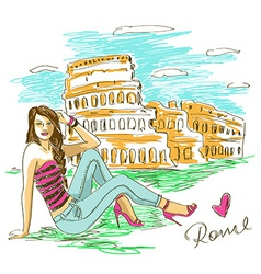 Fashion girl in Rome vector image vector image