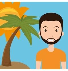 man sun palm travel vector image