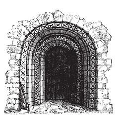 Norman doorway norman roman architecture vintage vector