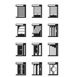 Sliding retractable and roll-up doors vector image vector image