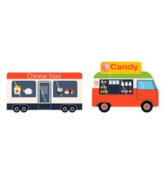 street food festival color trailer vector image vector image