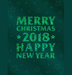 vertical green mosaic inscription 2018 vector image vector image