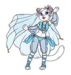 cute cat woman belly dancer vector image