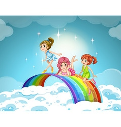 Fairies flying over the rainbow vector image vector image