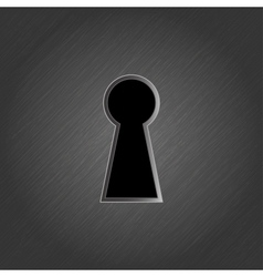 Keyhole on metal background - vector