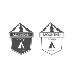 Mountain camp badge logo and label template vector image vector image