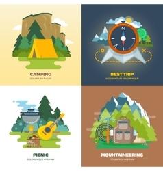 Outdoor adventure camp flat background concept set vector image vector image