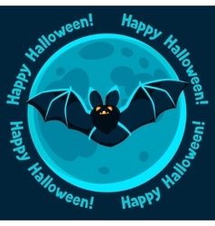 Happy halloween greeting card with moon and flying vector image vector image