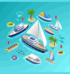water transport isometric collection vector image vector image