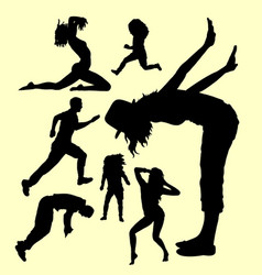 action male and female gesture silhouette vector image vector image
