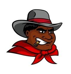 Cartoon cowboy character smoking cigar vector image
