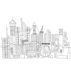 Hand drawn business center of big city street vector image