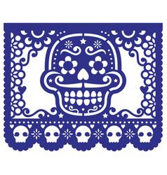 Mexican sugar skull design papel picado vector