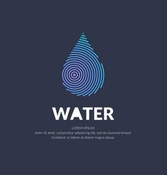 Modern line logo of the water drop vector