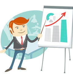Office man presentating a graph on flipchart vector image