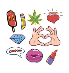 set of fashion patch cute sticker and pins vector image vector image