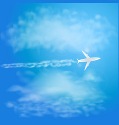 white plane flying with trail in blue sky with vector image vector image