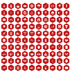 100 camping and nature icons hexagon red vector