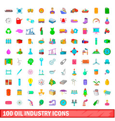 100 oil industry icons set cartoon style vector image
