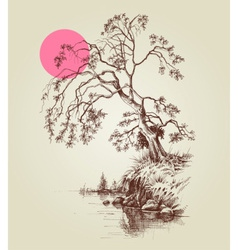 A tree by the lake or river and pink full moon vector