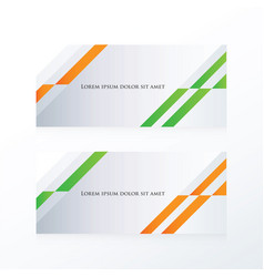 abstract banner design orange green vector image