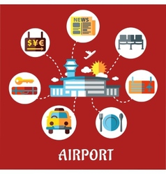 Airport and flight service flat concept vector