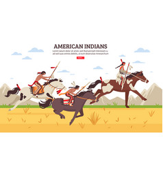 American indians cartoon background vector