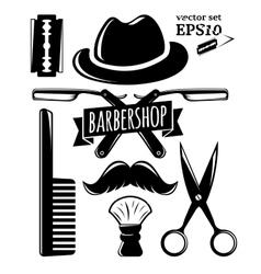 Barbershop accessory set vector
