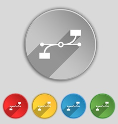 Bezier curve icon sign symbol on five flat buttons vector