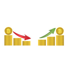 bitcoin coins with green and red arrows vector image