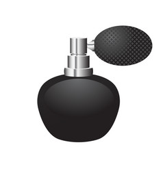 Black bottle of perfume with sprayer rubber bulb vector