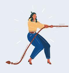 businesswoman in tug war vector image