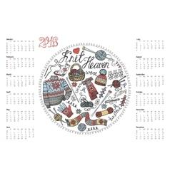 Calendar 2016Doodle hand made knitting vector