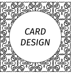 Card design with filigree linear art vector