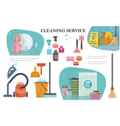 Cartoon cleaning service composition vector